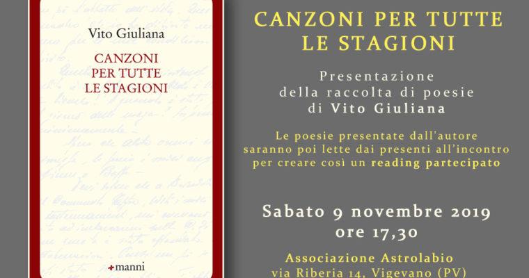 Canzoni per tutte le stagioni – Presentazione del libro di Vito Giuliana con reading partecipato